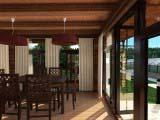 обеденая зона бани с панорамными окнами