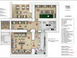 Схема расстановки мебели и общего зонирования кафе
