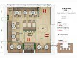 Схема расстановки мебели и зонирования главного зала кафе