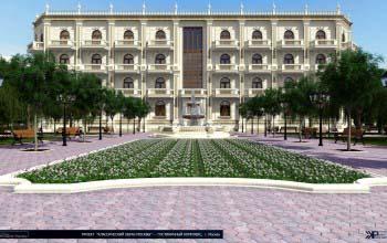 Дизайн проект гостиницы, ландшафтное оформление территории.