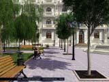 скамейки в общем архитектурном стиле