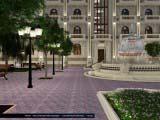 подсветка фонтана и здания