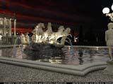 освещений главного фонтана ночью