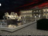 освещений главного фонтана ночью на фоне комплекса