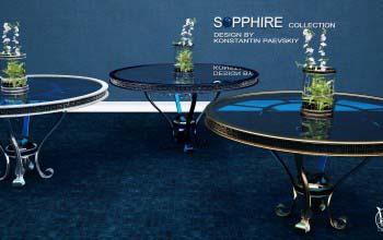 Дизайн авторской мебели — стол, ваза, софа, барельеф.