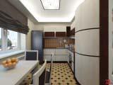 современная кухня с римскими шторами