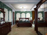 потолочные кессоны в классической спальне