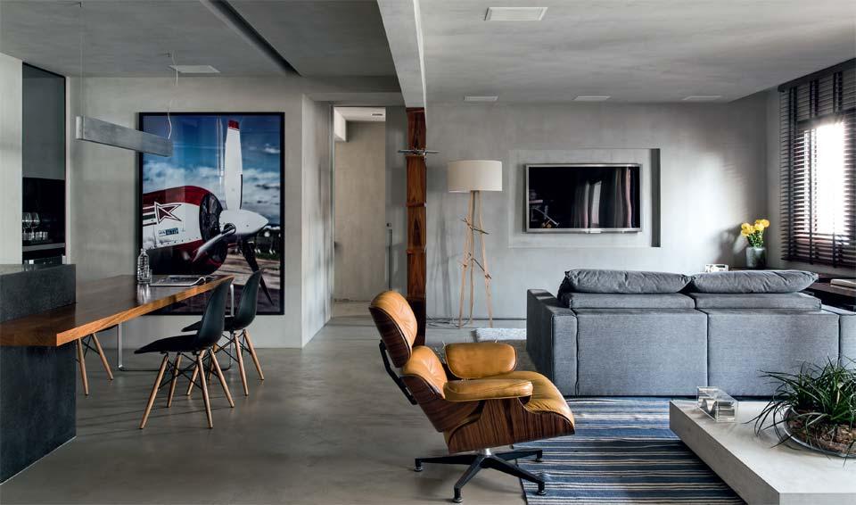 apartamento solteiro tom de cinza