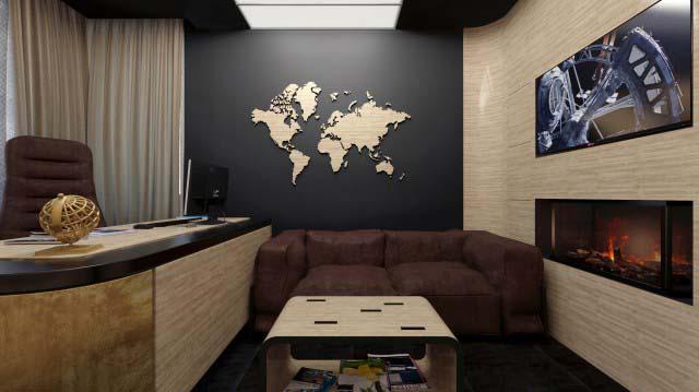 Камин в дизайне интерьера кабинета