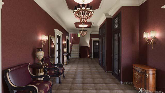 оформление коридора в классическом стиле