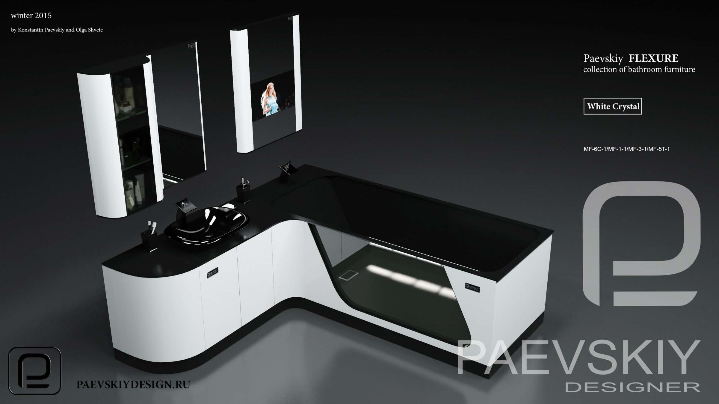 Наборная мебель мебель для ванной FLEXURE White crystal-02