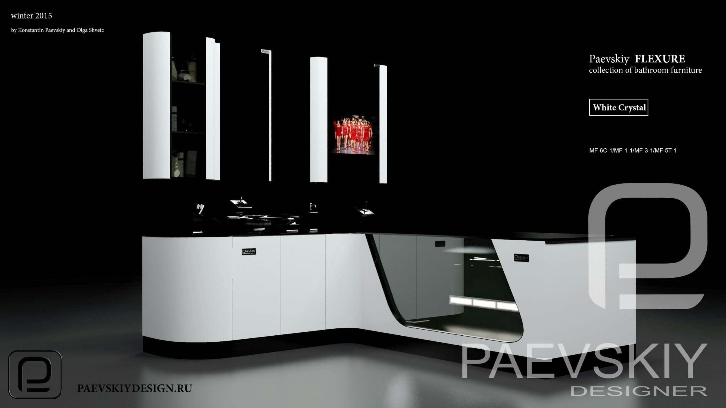 Наборная мебель мебель для ванной FLEXURE White crystal-03