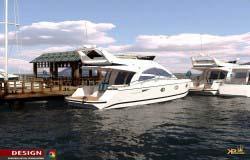 3d визуализация проекта стоянки для яхт, пирса, причала.
