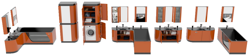 Дизайн мебели для ванной FLEXURE Carnelian
