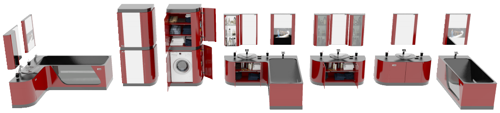 Дизайн мебели для ванной FLEXURE Garnet Crystal