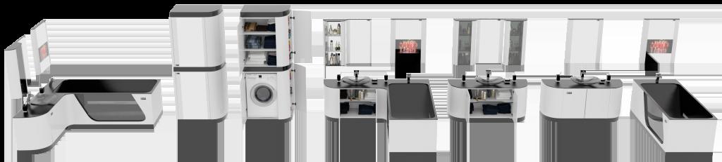 Дизайн мебели для ванной FLEXURE White crystal