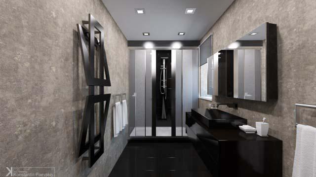 Брутальный минимализм в ванной
