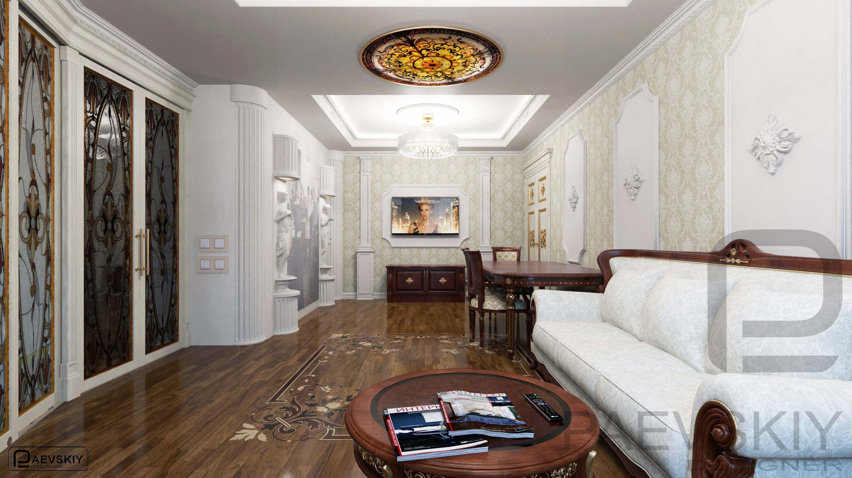 3D визуализации гостиной в классическом стиле