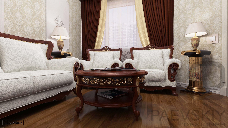 3D визуализации интерьера гостиной в классическом стиле