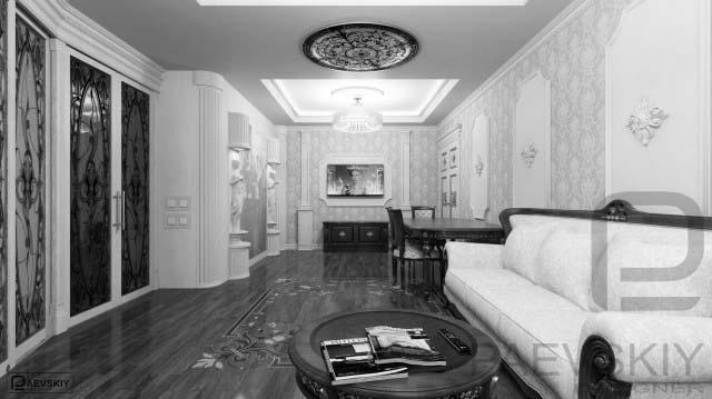 Дизайн проект гостиной интерьер в классическом стиле