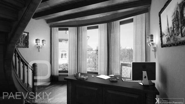 Дизайн интерьера кабинета для загородного дома