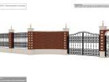 кованный забор с кирпичными колонами