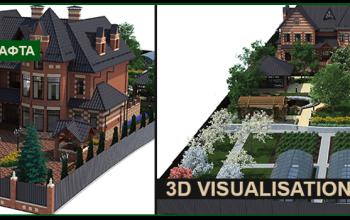 3d визуализация ландшафта территорий, парков, участков.