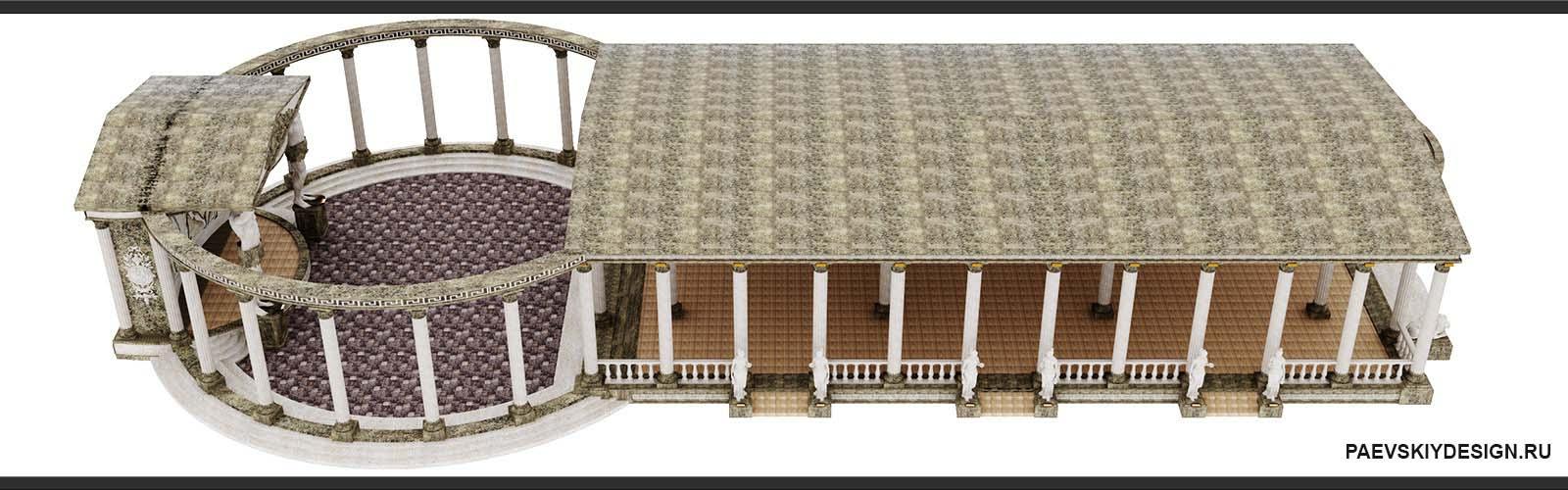 Концепция архитектурного оформления экстерьера строения в античном стиле