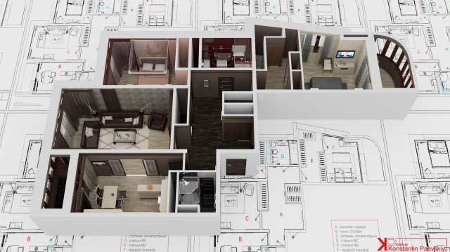 3d перспективы, эскизы трехкомнатной квартиры