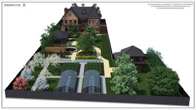 3d перспективы, эскизы загородного участка