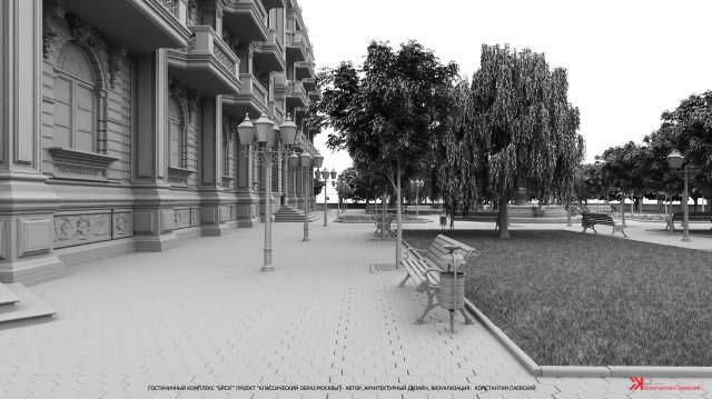 3d эскиз оформления прилегающей парковой территории