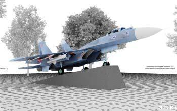 Экспозиция военного самолета СУ-27.