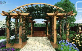 Проект летней беседки «Пергола» для участка загородного дома.