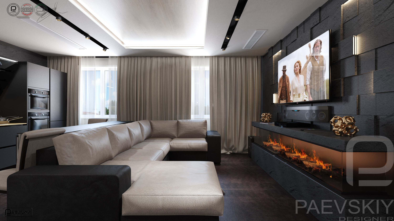 3D визуализация гостиной загородного дома в современном стиле