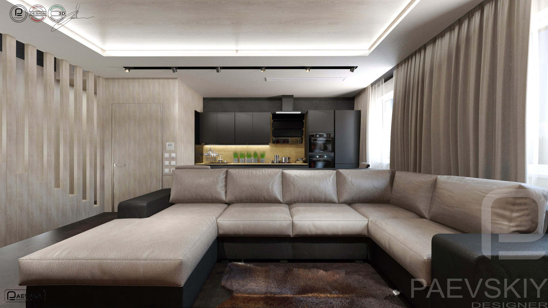 3D визуализация гостиной таунхауса в современном стиле