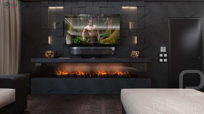 3D визуализация гостиной таунхауса в современном стиле5