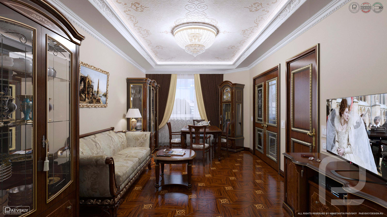 3D визуализация дизайн интерьера гостиной в классическом стиле