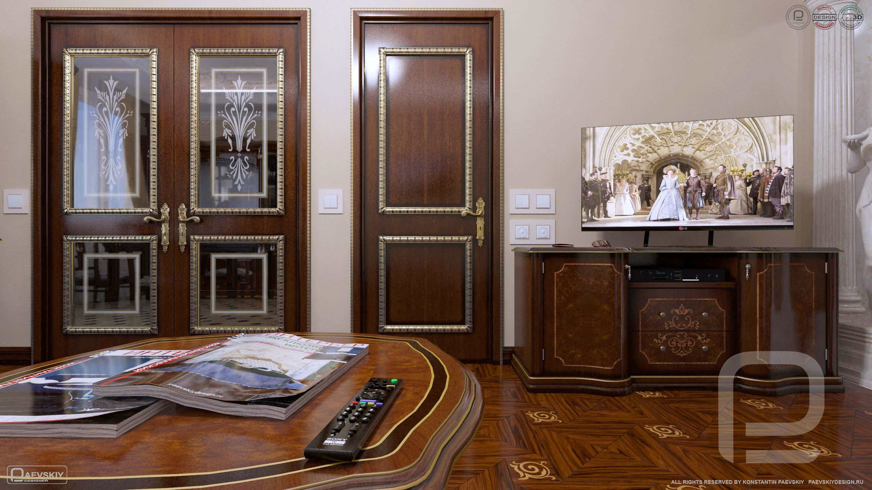 3D визуализация гостиной в классическом стиле