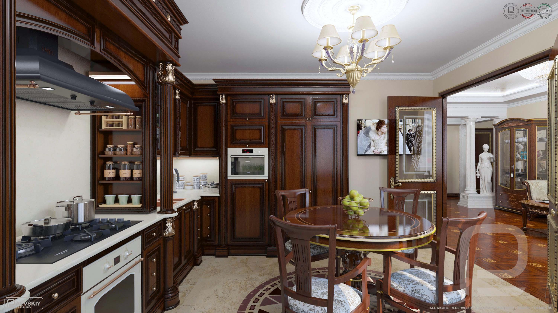 3D визуализация дизайн интерьера кухни в классическом стиле