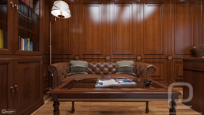 3D визуализация дизайн интерьера кабинета в классическом стиле