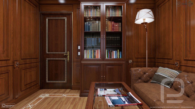 3D визуализация кабинета в классическом стиле