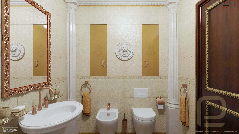 3D визуализация дизайн интерьера ванной в классическом стиле