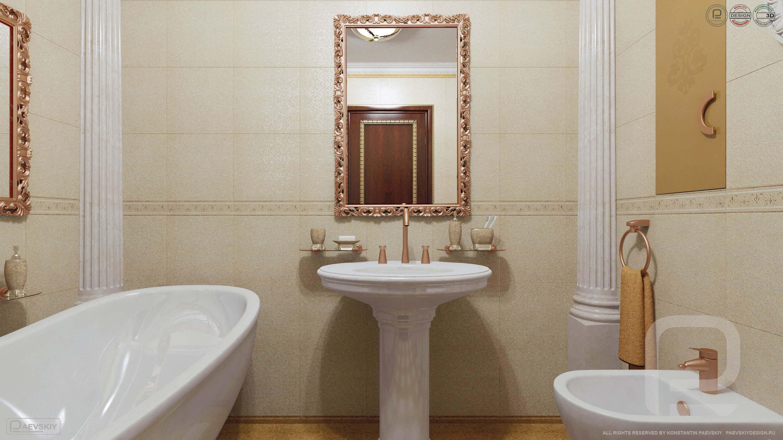 3D визуализация интерьера ванной в классическом стиле