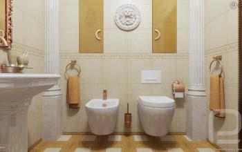 3D визуализация ванной в квартире.