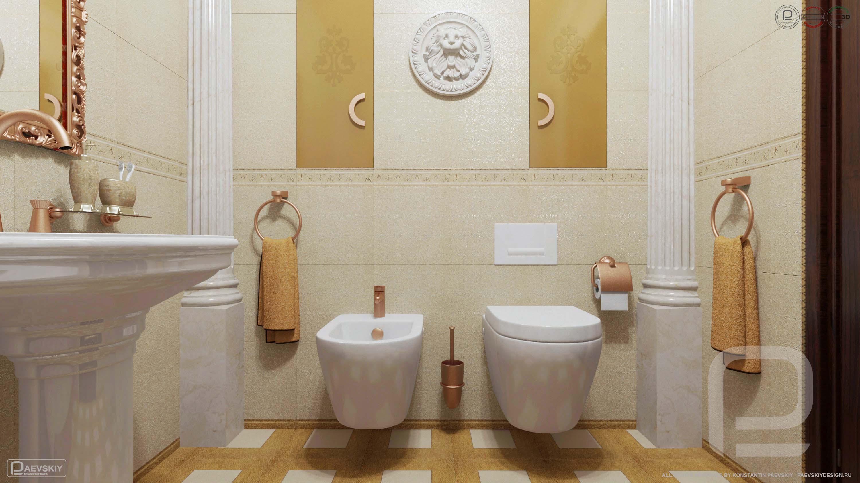 3D визуализация ванной в классическом стиле