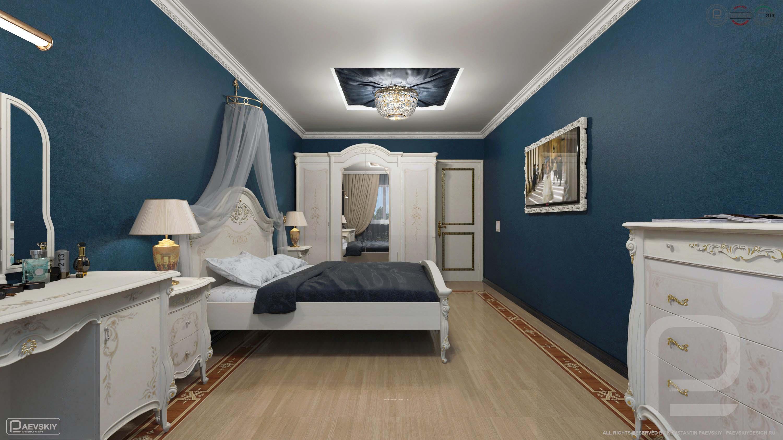 3D визуализация дизайн интерьера спальни в классическом стиле