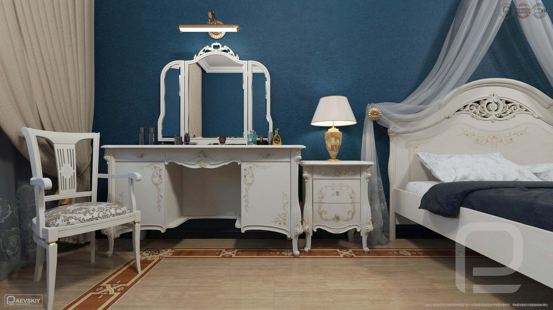 3D визуализация интерьера спальни в классическом стиле