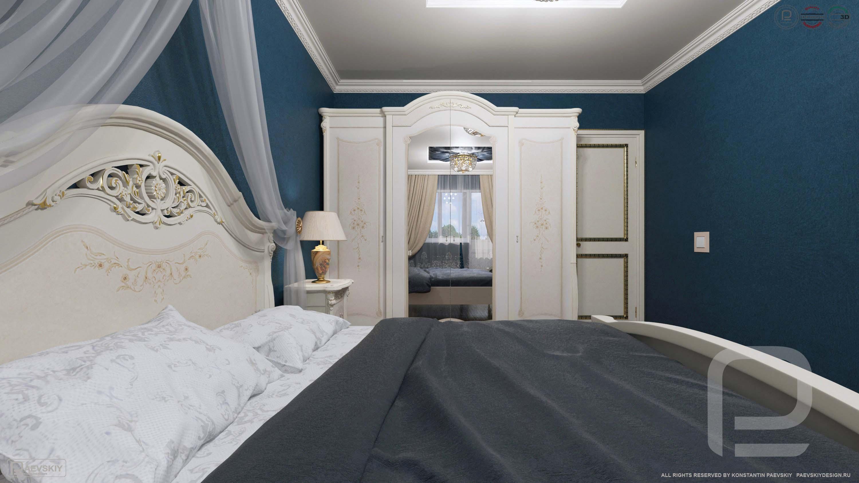 3D визуализация спальни в классическом стиле