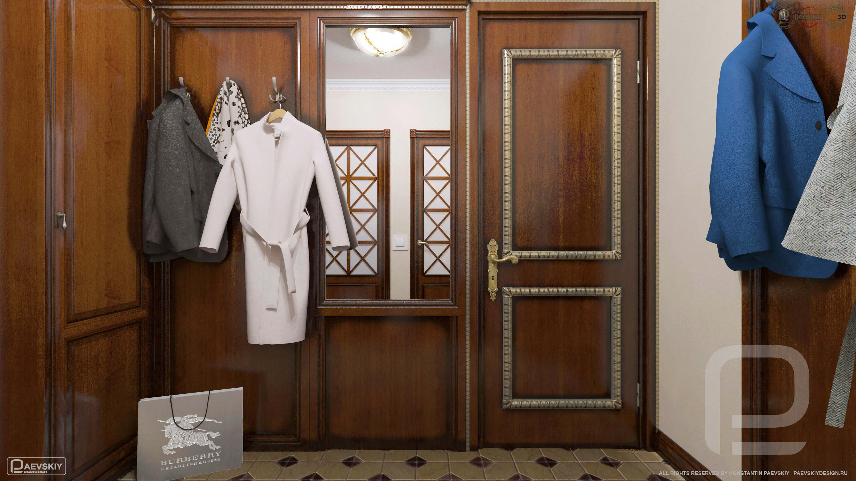3D визуализация интерьера прихожей в квартире