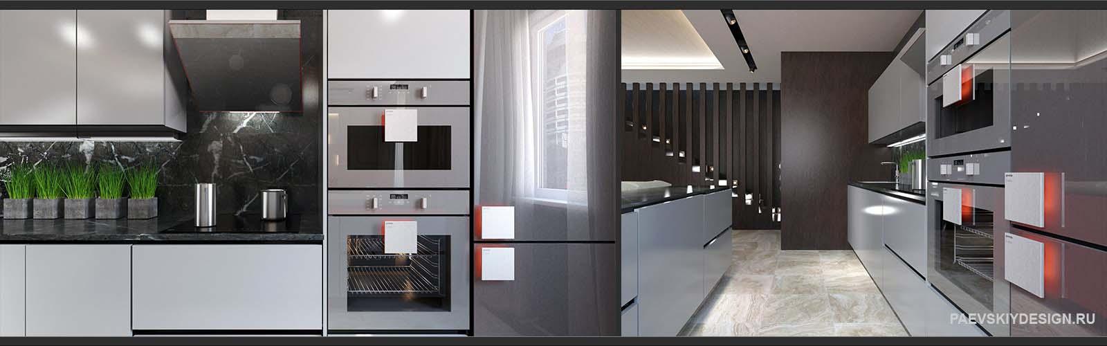 Современный интерьер с авторской мебелью для кухни